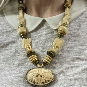 Vintage Carved Elephant Beaded Necklace